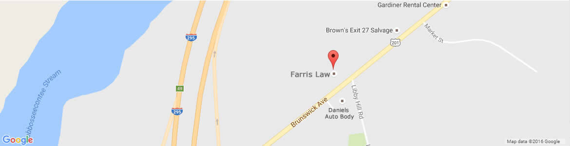 Map showing the location of Farris Law, 6 Central Crossing, Gardiner, Maine.
